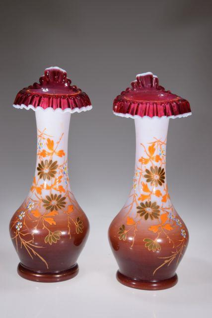 11 Hand Enameled Victorian Opaline Vases Withcranberry Snow Crest Tulip Lips