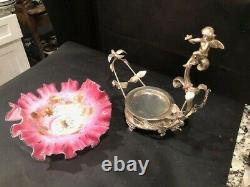 12x13 In Meridian Plate Victorian Brides Basket With Cased Amberina Gold Bowl