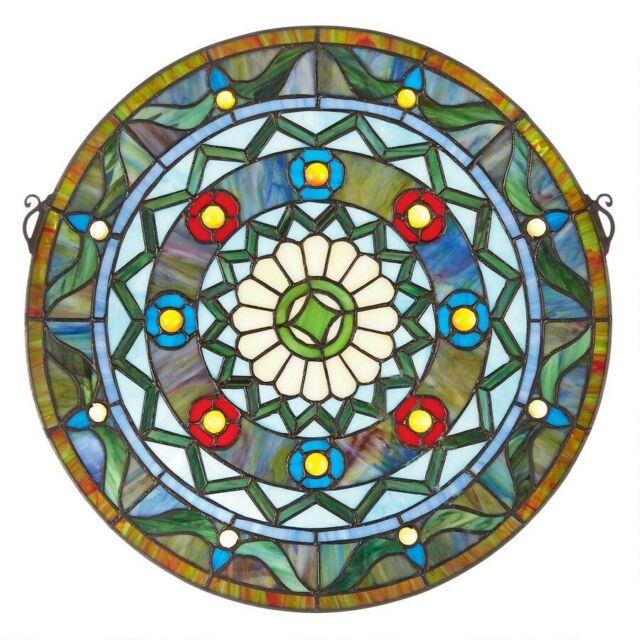 16.5 Victorian Tiffany-style Bold Geometric Stained Glass Round Window Panel
