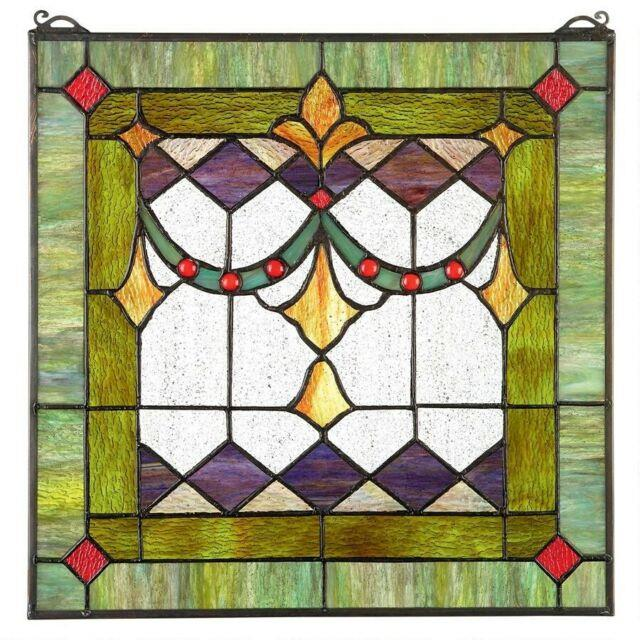 17 H X 17 W Victorian Tiffany-style Stained Glass Window Panel