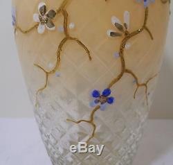 1800s VICTORIAN NEW ENGLAND GLASS CO VENETIAN DIAMOND QUILT HP ORIENTAL ENAMEL