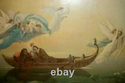 1880's FLYING ANGELS BOAT PRINT BIBLE STORY RELIGIOUS WAVY GLASS WOOD BACK OLD