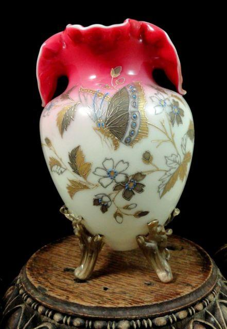 1885 Documented Antique Victorian Bohemian Harrach Art Glass Vase W. Pohl Design