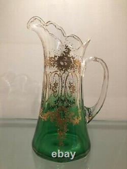 1895 MOSER GLASS Rubina Verde GREEN Lemonade PITCHER withENCRUSTED GOLD Decoration