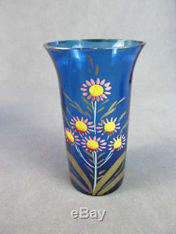 1900s VICTORIAN Glass LEMONADE Set-Pitcher & 4 Tumblers Blue withEnamel PARROT