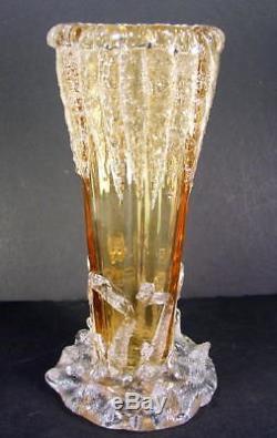 19c VICTORIAN MOSER HARRACH BOHEMIAN ICICLES CRACKED ICE ART GLASS VASE KRALIK