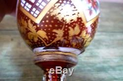 19th C Bohemian Cranberry Hand Painted Overlay Enamel & Gilded Vases Moser Czech