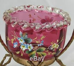 19th C English Victorian Cranberry Glass Enamel Pansy Basket Faux Bamboo Holder