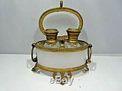 19th C French Opaline Perfume Casket Box W Brass Trim