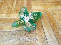 19th C. MOSER GREEN BOHEMIAN CUT ART GLASS DECANTER BOTTLE ENAMEL & GOLD GILT