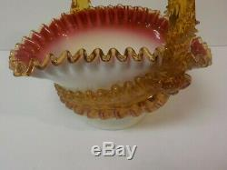 19th C. STEVENS & WILLIAMS CASED ART GLASS BASKET, APPLIED RIGAREE DECORATION