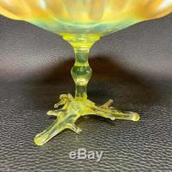19th C. Victorian Vaseline Opalescent Art Glass TAZZA Bohemian Centerpiece Bowl