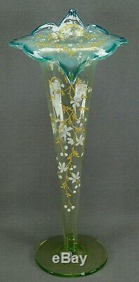 19th Century Moser Style Enameled Floral Jack in The Pulpit Vaseline Glass Vase