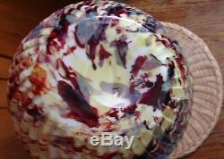19thC Victorian American Multi-Colored Spatter Reverse Swirl Art Glass Vase 7¼