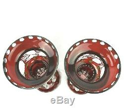 2 Antique Etched Bohemian Ruby Red Glass Mantle Lusters With Cut Crystal Prisms