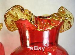 (2) Antique Victorian Czech Hand Blown Amberina Art Glass Vases Applied Rigaree
