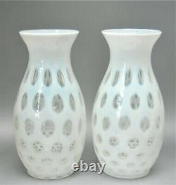 2 Antique Vintage Fenton White Opalescent Thumbprint Coin Dot Vase Lamp Base