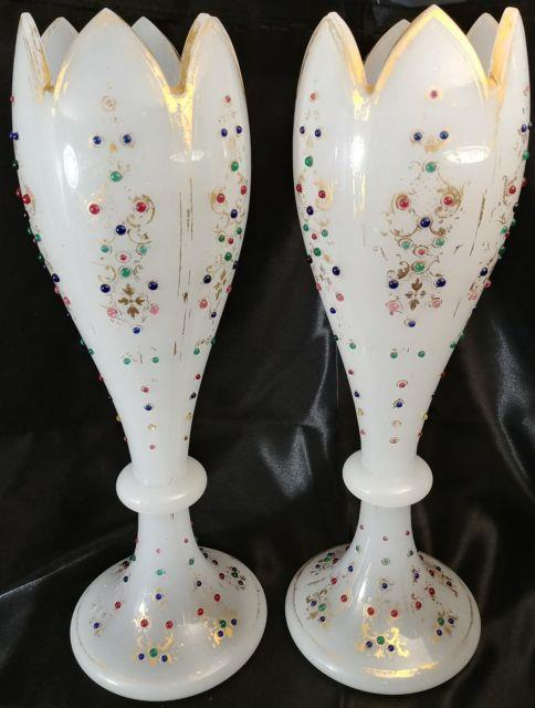 2 Bohemian Jeweled Opaline 14 5/8 Vases Made For Persian Market