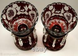 2 MANTLE LUSTERS Red Cut-Clear BOHEMIAN Glass Candle Lustre LAMP Prism VICTORIAN