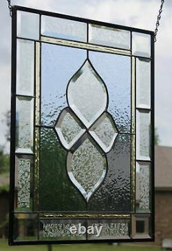 2 Panels Available -Beveled Stained Glass Window Panel, 20 1/2 X 15 1/2