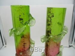 2 Stevens & Williams Uranium Cased Victorian Art Glass Vases Rubina Verde