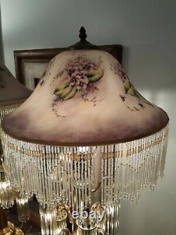 2 Vintage Brass Lamps Art Deco Revival Victorian style glass lampshades