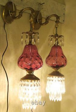2 Vintage Fenton Victorian Cranberry art Glass Bronze Brass Sconces lamp crystal