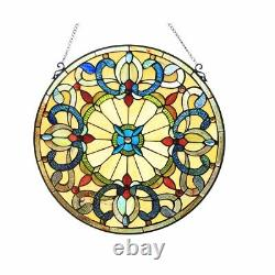 22 x 22 Victorian Tiffany-Style Royal Stained Glass Round window Panel