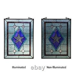 24 x 18 Victorian Star Stained Glass Tiffany Style Window Panel
