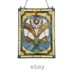 25 Unique Blues & Greens Victorian Stained Glass Window Panel