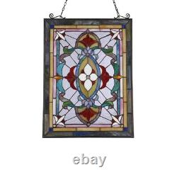 25 x 18 Victorian Tiffany-Style Jeweled Row Stained Glass Round window