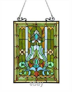 25 x 18 Victorian Tiffany Style Stained Glass Cardington Manor Window Panel