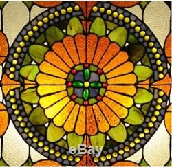 25 x 25 Victorian Tiffany Style Stained Glass Window Panel With Chain