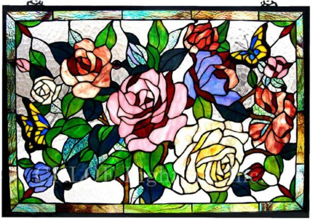 27 X 19 Victorian Rose Garden Tiffany Style Stained Glass Window Panel W Chain
