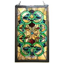 28 x 17 Victorian Mystical Maze Tiffany Style Stained Glass Window Panel