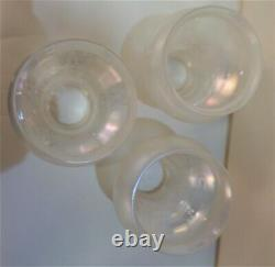 3 Antique Frosted Tulip Etched Iridescent Lamp Shades