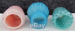 3 Antique Victorian Art Glass Sugar Shakers Blue Opalescent Northwood Leaf Mold