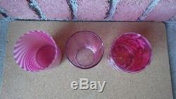 3 Antique Victorian Fenton Cranberry Glass Tumblers Swirl Daisy & Fern Drapery