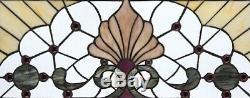 30 W x 15 Victorian Shell Sunburst Tiffany Style Stained glass Window Panel