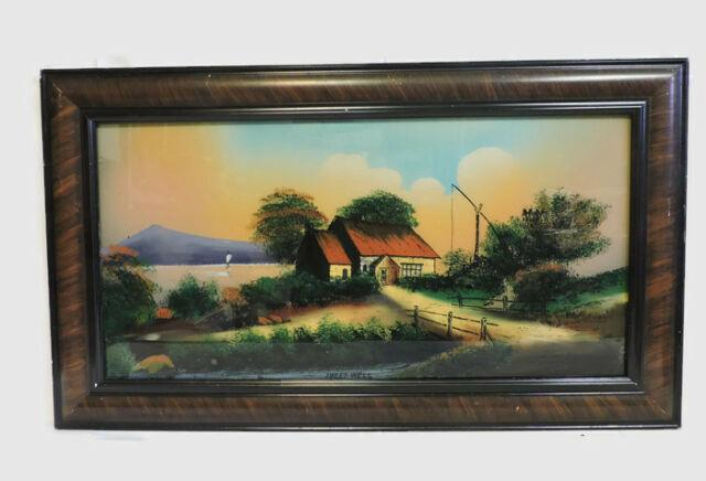 33 X 19 Antique Reverse Glass Painting Art Sweet Well Victorian Tiger Eye Wood