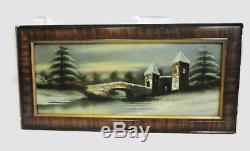 35 X 18 Antique Reverse Glass Painting Art Snow Bridge Victorian Tiger Eye Wood