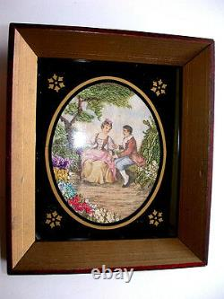 3D Oil Victorian Courtship Painting Under Oval Black Painted Glass & Wood Framed