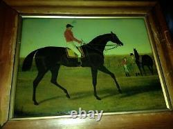 4 beautiful victorian framed antique reverse glass paintings of hunt Horses
