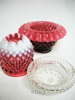 7 Fenton Cranberry Red & Opalescent Hobnail Fairy Candle Lamp 3 Pc Mint Large