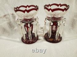 7 Lustres Vase Czech Antique Cranberry Bohemian Crystal Girandole Victorian