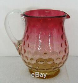 (7) Pc. Antique Victorian Coinspot Amberina Glass Water Pitcher & Tumblers Set