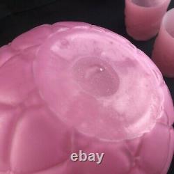 7 Piece EAPG Consolidated Glass FLORETTE Pink Mauve Quilt Satin WATER SET