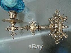 A Fine Quality Pair Of Original Blue Victorian Art Nouveau Sconce Oil Lamps