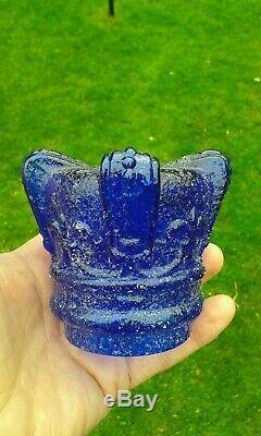 A Rare Victorian Blue Clarkes Prince of Wales Fleur De Lys Glass FAIRY LAMP