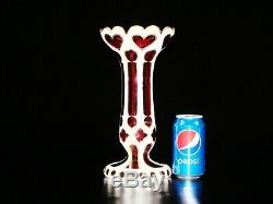 A Stunning Victorian Bohemian White Cut To Cranberry Glass Vase